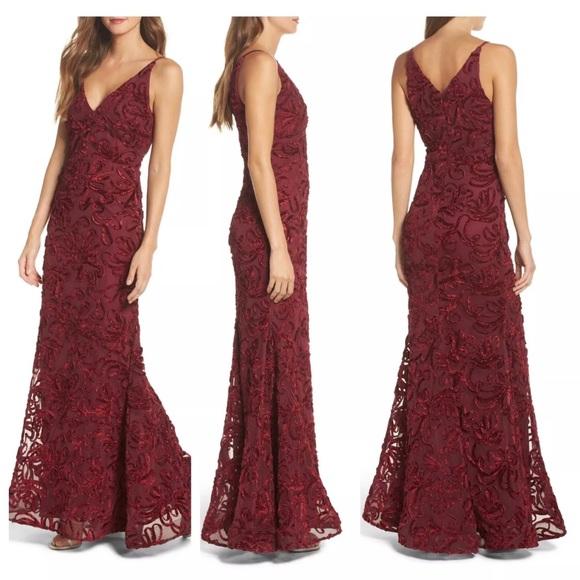58c6c153 Xscape Dresses | Nwt Flocked Velvet Gown Wine Red | Poshmark